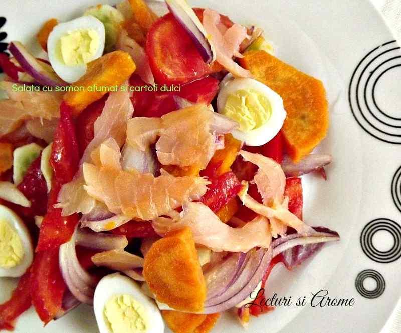 salata cu somon afumat si cartofi dulci