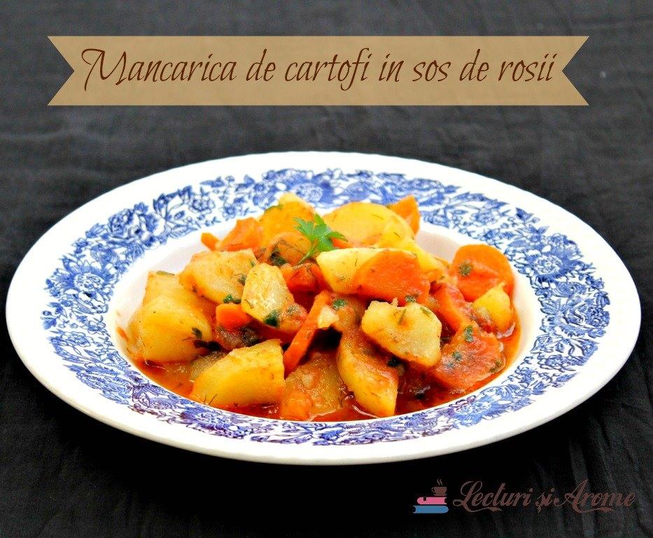 mancare de cartofi in sos de rosii