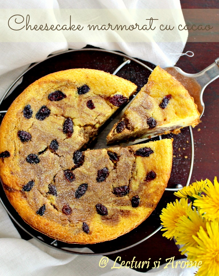 cheesecake marmorat cu cacao lecturi si arome