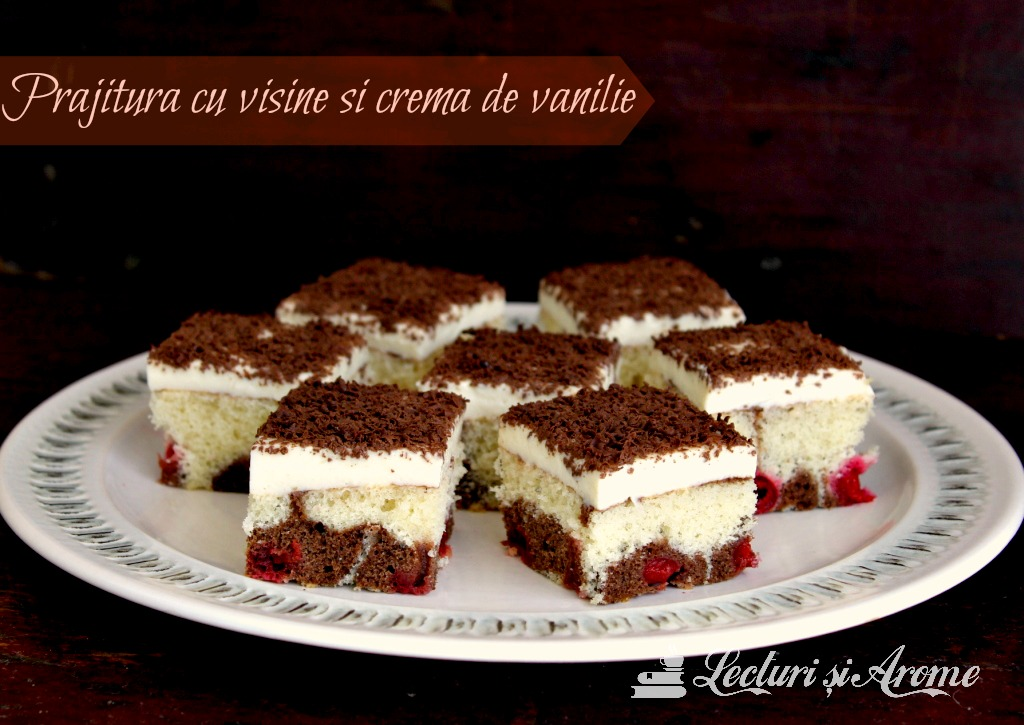 prajitura cu visine si crema de vanilie