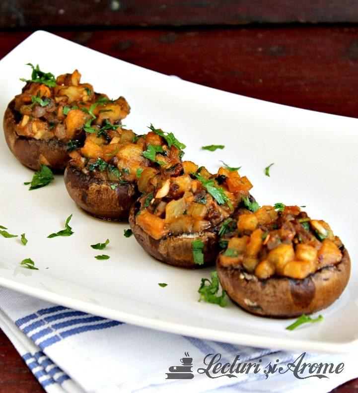 ciuperci umplute cu vinete la cuptor
