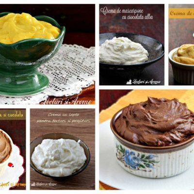 10 retete de creme pentru tort, prajituri, desert la pahar