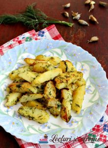 cartofi fierți și prăjiți cu mărar