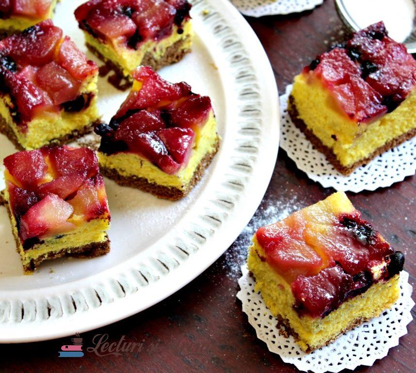 prăjitură cu afine și mere