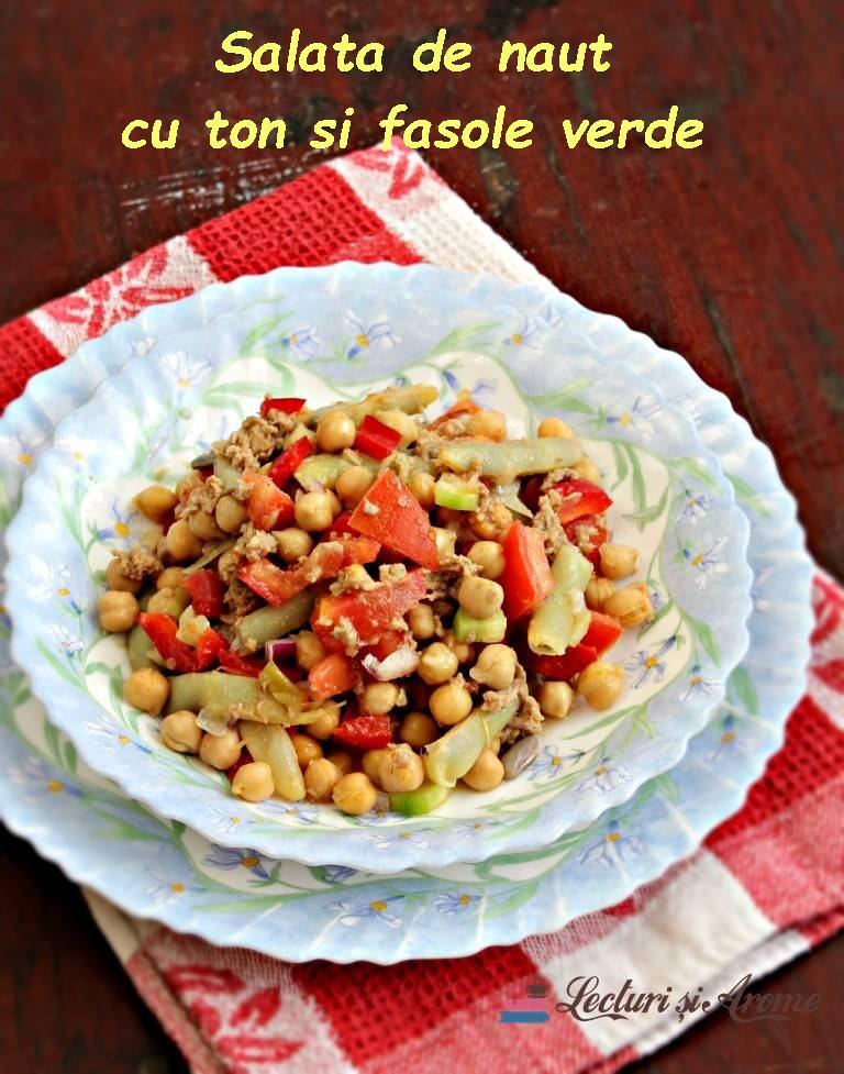 Salată de năut cu ton și fasole verde