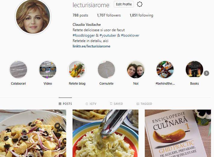 pagiina de instagram Lecturi si Arome