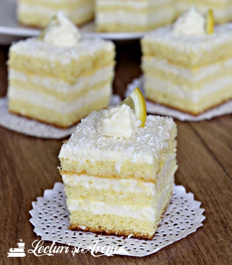 Prăjitură pufoasă cu cremă de lămâie (Albă ca Zăpada reinterpretată)