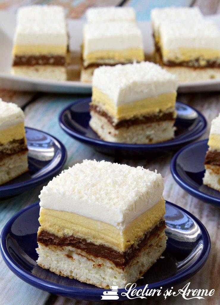 Prăjitură Crăiasa Zăpezii – cu blat din albușuri, cremă de vanilie și ciocolată