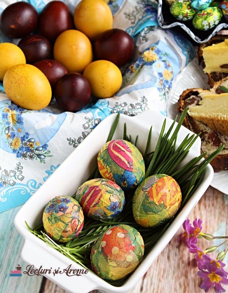 ouă decorate cu tehnica șervețelului Lecturi și Arome