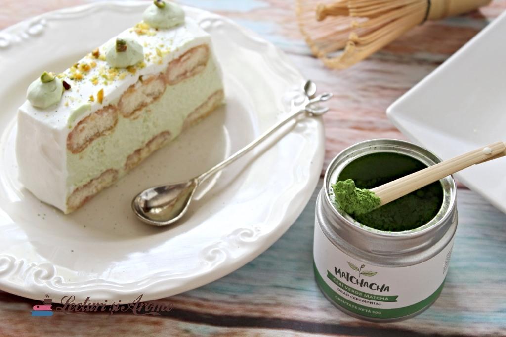 matcha prăjitură cu mousse de ciocolată albă