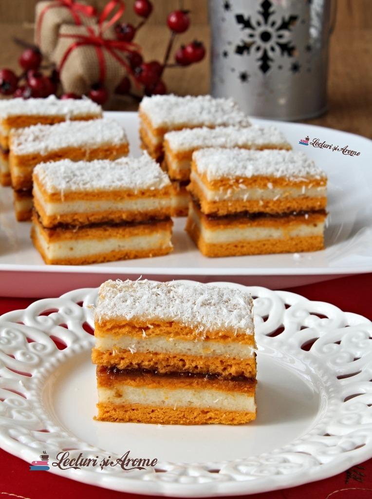 prăjitură cu foi de bulion și cremă de griș