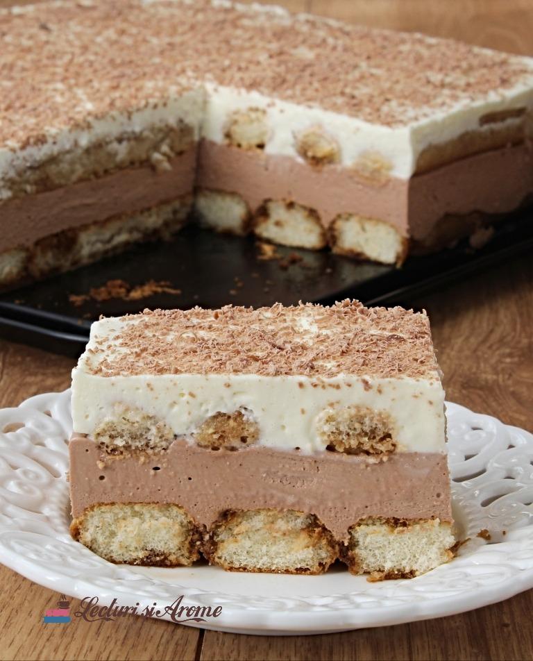 prăjitură Nina cu piscoturi si mousse de ciocolată